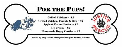 Gypsy Blu Dog Menu